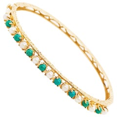 Antique and Original Pearl and Amazonite Bangle Bracelet, 14 Karat Gold Genuine