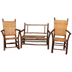 Antique and Primitive Adirondack Stick Form Three-Piece Porch Set, circa 1910