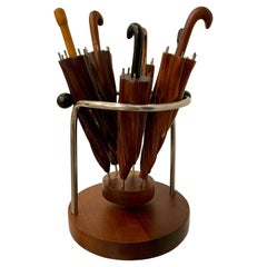 Antique and Rare Cuban Woods Hand Carved Umbrellas on a Stand
