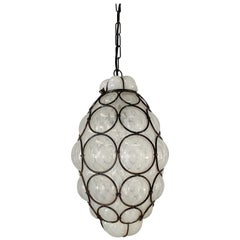 Antique and Rare Venetian Mouth Blown Frosted Glass in Metal Frame Pendant Light