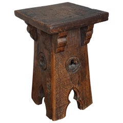 Antique and Strong & Heavy Oak Gothic Revival Plant / Pedestal Stand / End Table