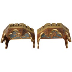 Antique and Stunning Pair of Hand Carved Gothic Wall Brackets for Saint Statues