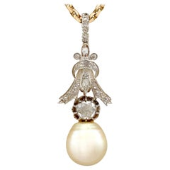 Antique and Vintage 1.23 Carat Diamond and South Sea Pearl Yellow Gold Pendant