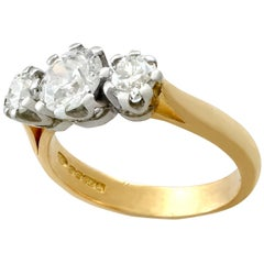 Antique and Vintage 1.32 Carat Diamond and Yellow Gold Trilogy Ring