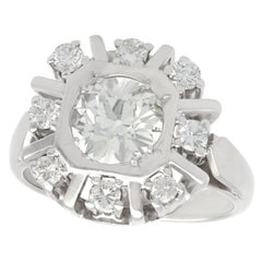 Antique and Vintage 1.68 Carat Diamond and White Gold Cocktail Ring