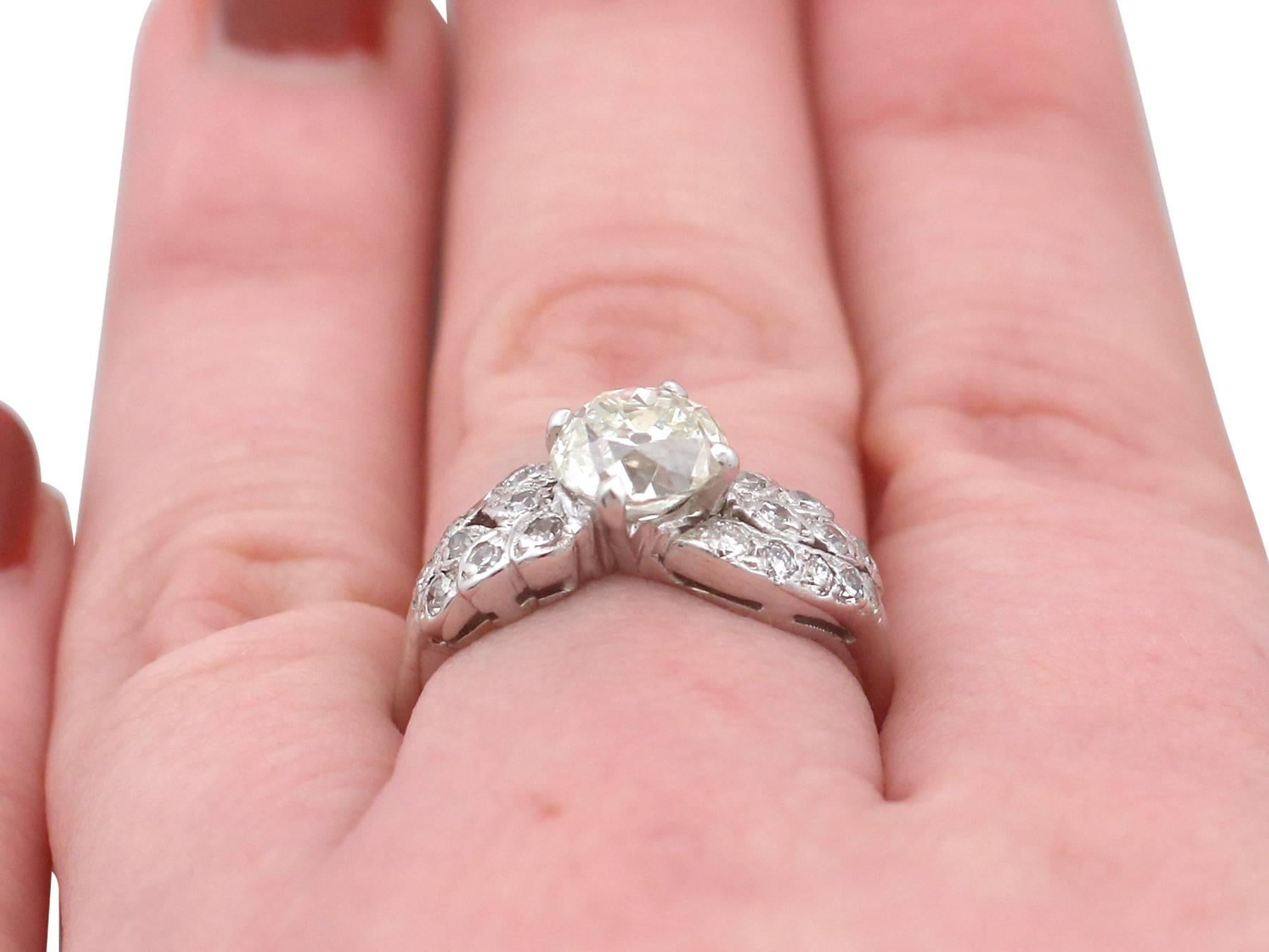 Antique and Vintage 2.70 Carat Diamond 15 Karat Gold, Platinum Set ...