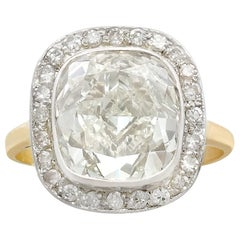 Antique and Vintage 5.73 Carat Diamond and Yellow Gold Dress Ring