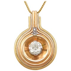Antique and Vintage Art Deco 1.72 Carat Diamond Tri-Colored Gold Pendant