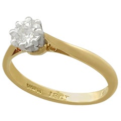 Antique and Vintage Diamond and Yellow Gold Solitaire Ring