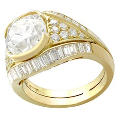 Antique and Vintage Italian 6.11 Carat Diamond Yellow Gold Cocktail Ring