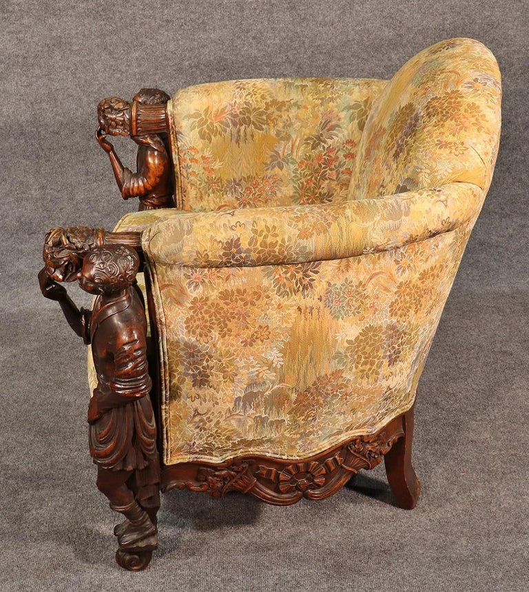 Baroque Antique Andrea Brustolon Style Figural Carved Walnut Club Chair For Sale