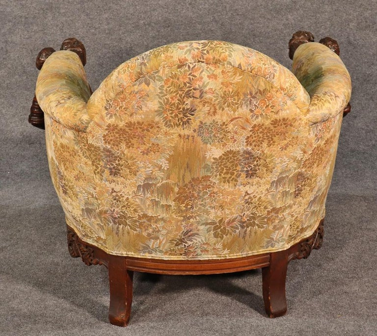 Antique Andrea Brustolon Style Figural Carved Walnut Club Chair In Good Condition For Sale In Swedesboro, NJ