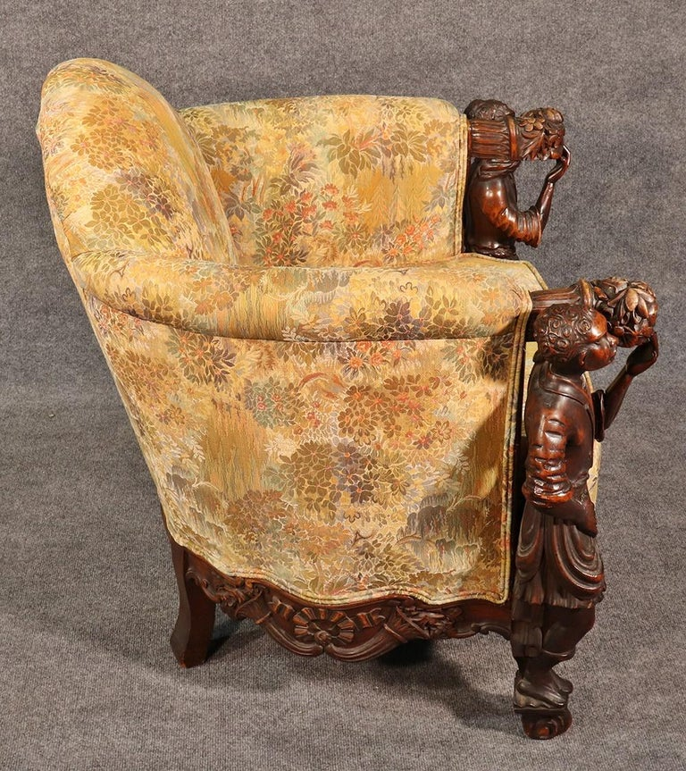 19th Century Antique Andrea Brustolon Style Figural Carved Walnut Club Chair For Sale