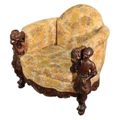 Antique Andrea Brustolon Style Figural Carved Walnut Club Chair