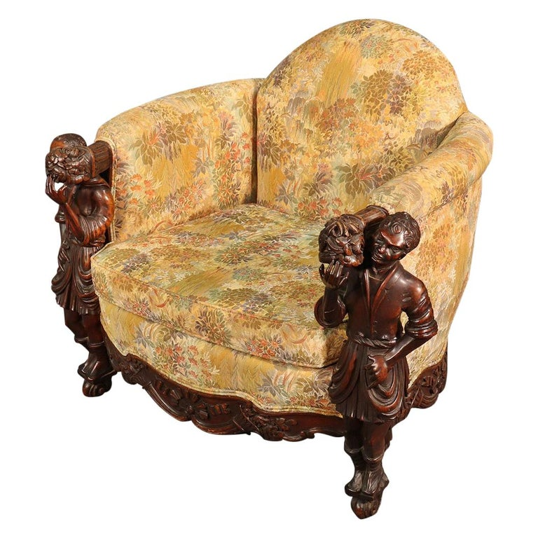 Antique Andrea Brustolon Style Figural Carved Walnut Club Chair For Sale