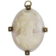 Antique Angel Skin Coral Cameo Seed-Pearl Gold Pendant-Brooch