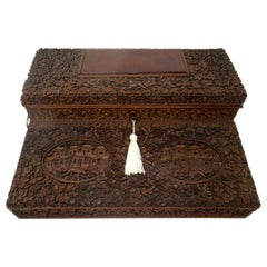 Antique Anglo-Indian Bombay Carved Sandalwood Writing Slope Box Mid-19th Century