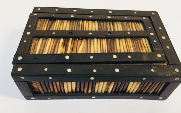 Wood Antique Anglo Indian Box Handcrafted in Ebony and Porcupine Quills For Sale
