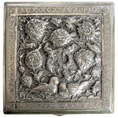 Antique Anglo-Indian Silver Box with Hand Chased and Repousse Decoration