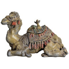 Antique Anglo-Indian Styled Cast Metal Figural Camel Inkwell or Sculpture