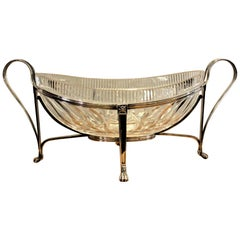 Antique Anglo-Irish Cut Crystal Centerpiece Bowl with Silver Plated Stand