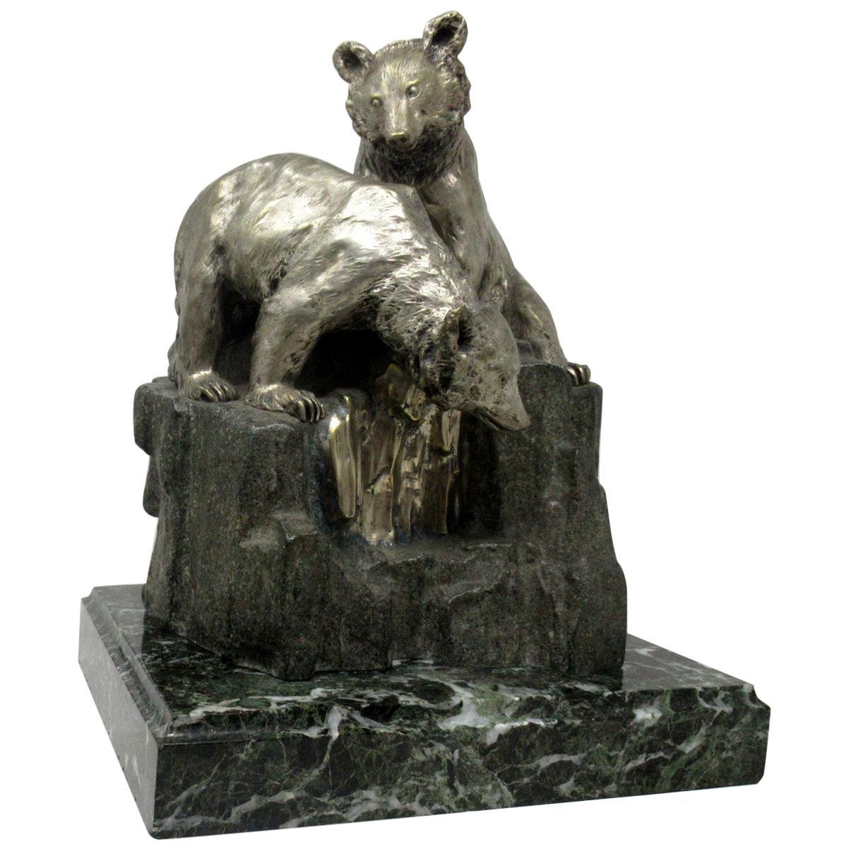 Antique Animal Bear Bronze Group on Green Marble by Giuseppe Gambogi 1862-1938
