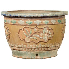 Antique Annamese 19th Century Planter with Floral Decor and Distressed Patina