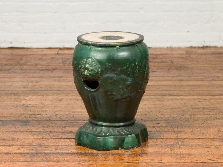 Vietnamese Antique Annamese Green Glazed Ceramic Garden Seat on Shaped Base For Sale