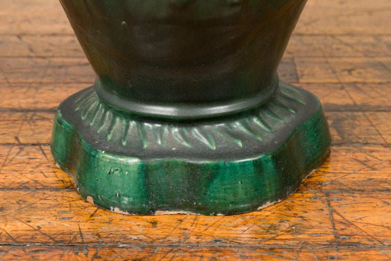 Antique Annamese Green Glazed Ceramic Garden Seat on Shaped Base For Sale 4