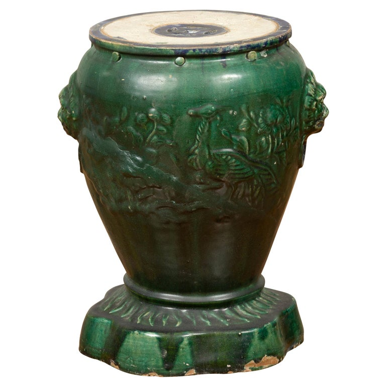 Antique Annamese Green Glazed Ceramic Garden Seat on Shaped Base For Sale