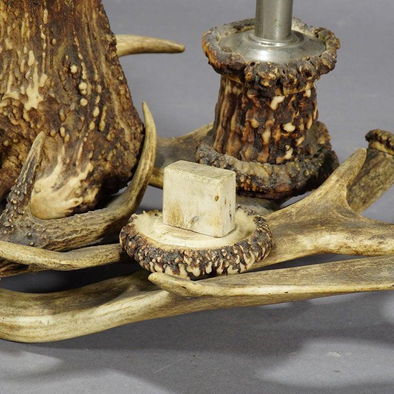 Black Forest Antique Antler Smoking Desk Set, circa 1900 For Sale