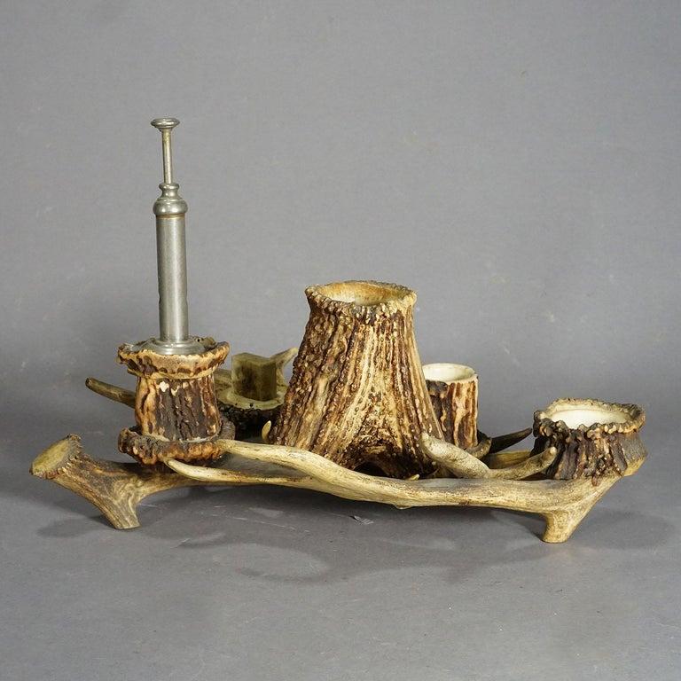 Antique Antler Smoking Desk Set, circa 1900 In Good Condition For Sale In Berghuelen, DE