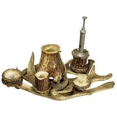 Antique Antler Smoking Desk Set, circa 1900
