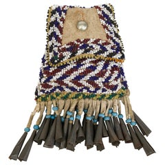 Antique Apache 'Native American' Beaded Strike-A-Light Bag, circa 1890