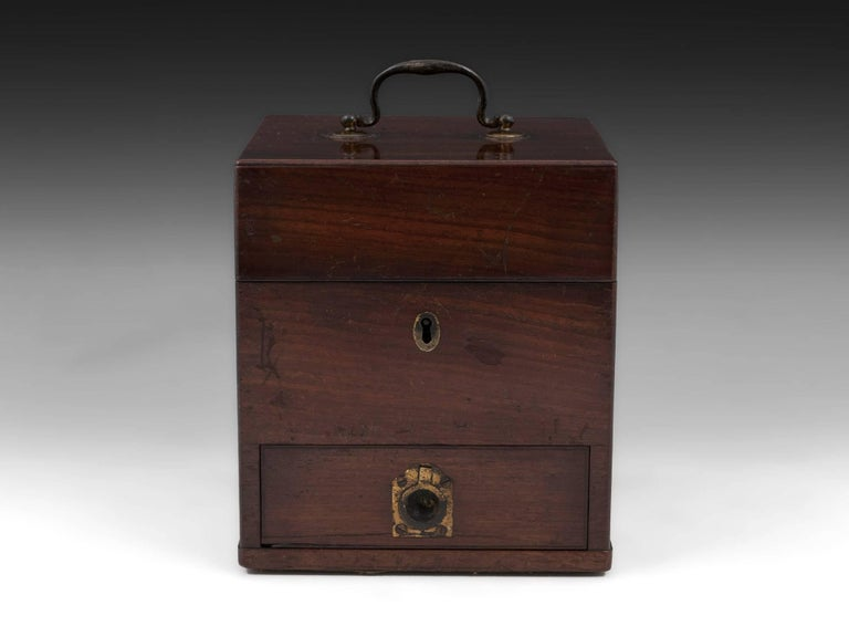 Antique apothecary box with large brass carry handle, escutcheon and drawer pull.   Open the box reveals eleven various labelled and unlabelled bottles, some still containing their original contents. Each housed in a wooden compartment. The