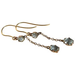 Antique Aqua and 9 Carat Gold Dangly Earrings