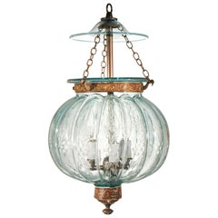 Antique Aqua Blue Melon or Pumpkin Bell Jar Lantern