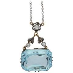 Antique Aquamarine and Diamond Pendant, English, circa 1910