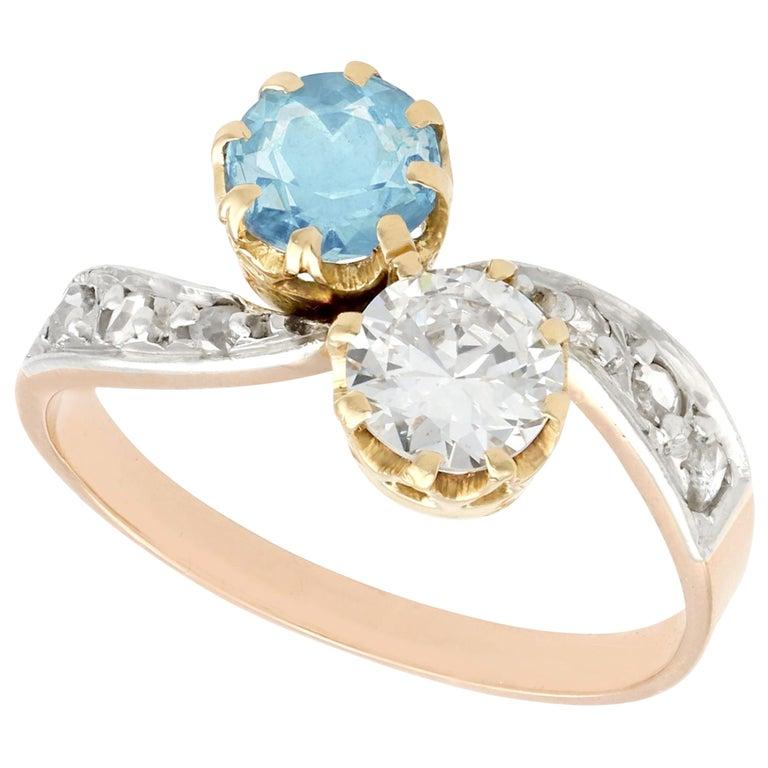 Antique Aquamarine and Diamond Yellow Gold Twist Ring, Circa 1900 For Sale