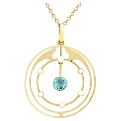 Antique Aquamarine and Pearl Yellow Gold Pendant