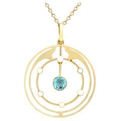 Antique Aquamarine and Pearl Yellow Gold Pendant