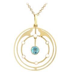 Antique Aquamarine and Pearl, Yellow Gold Pendant