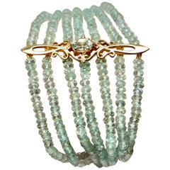 Antique Aquamarine Bracelet, Gold Ornament