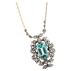 Antique Aquamarine Necklace with Old-Mine Diamonds