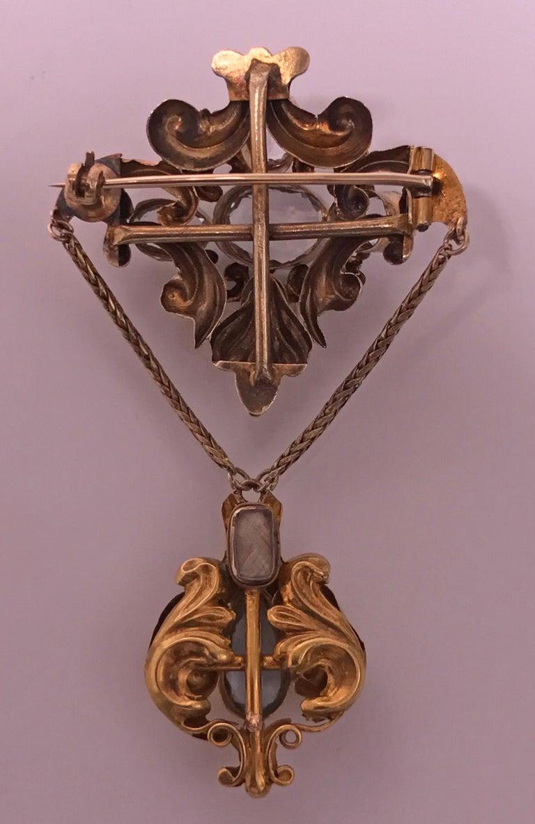 19th Century Antique Aquamarine Pendant Brooch, English, circa 1840 For Sale