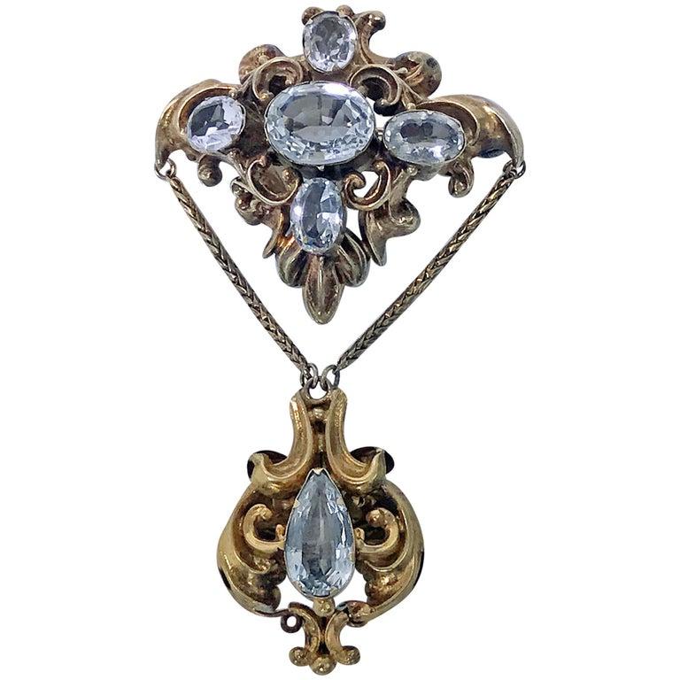 Antique Aquamarine Pendant Brooch, English, circa 1840 For Sale