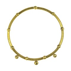 Antique Archaeological Revival 15k Gold Necklace, Britain, Wire & Granulation
