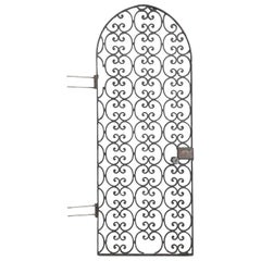 Antique Arched Iron Door, Perfect for a Wine Room or Garden Entrance