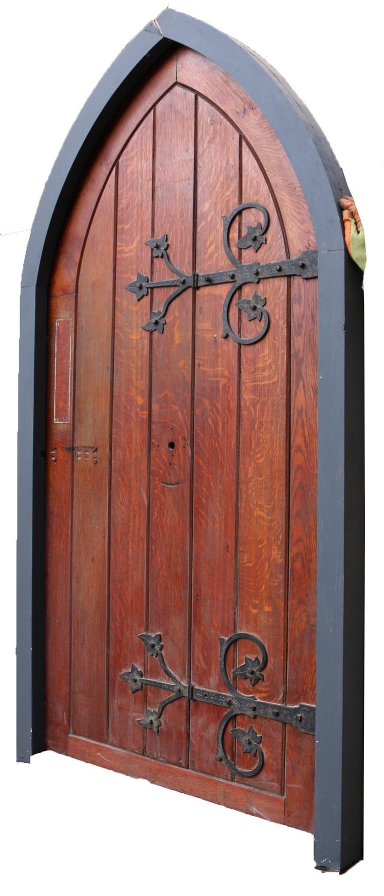 19th Century Antique Arched Oak Door With Painted Pine Frame For Sale