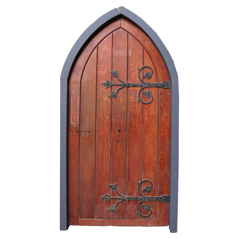 Antique Arched Oak Door With Painted Pine Frame For Sale